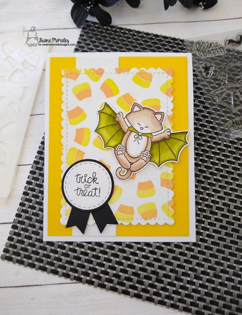 Trick or treat by Diane features Candy Corn, Batty Newton, and Framework by Newton's Nook Designs; #inkypaws, #newtonsnook