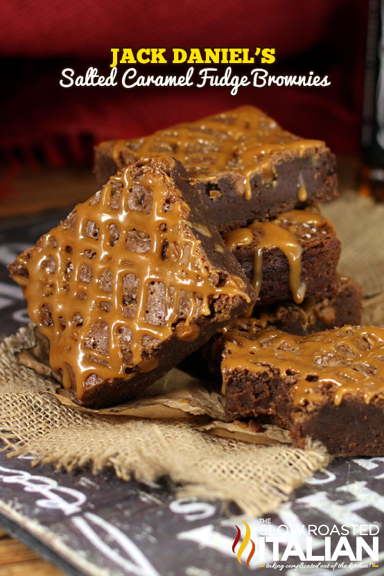 Jack Daniel's Brownies are a rich and fudgy brownies with a hint of smokiness.  Featuring specks of caramel throughout.  Then they are topped with a caramel sauce and dusted with salt.  OH MY WORD!  They are magical.  The perfect adult treat.