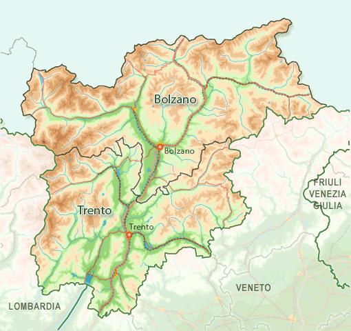 Cartina Trentino.Italia Mappa Regionale Mappa Di Trentino Alto Adige Regionale