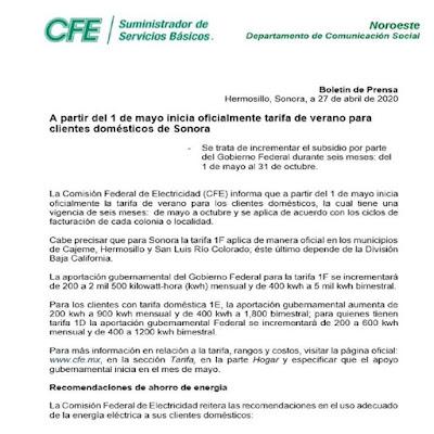 Este viernes 1 de mayo inicia el subsidio de la tarifa 1F para los municipios de Hermosillo, San Luis Río Colorado y Cajeme