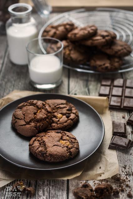 Schokoladige Chocolate-Chip-Cookies Double Chocolate Chip Cookies