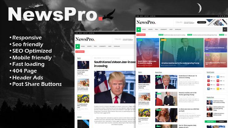 NewsPro Premium Responsive Blogger Template