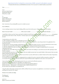 Letter to Bank for conversion of NRE account to Resident account