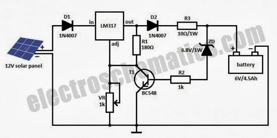 Charging Battery with Solar Panel (Schematic Diagram