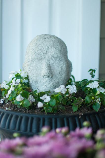 Spooky concrete head in fall urn - Gwen Moss
