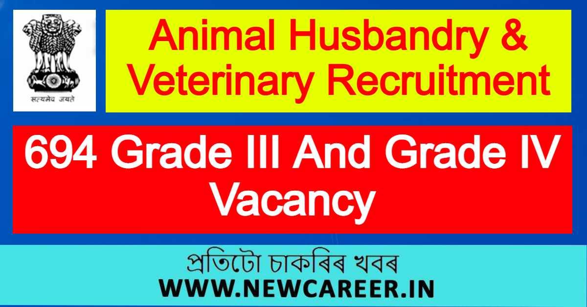 Animal Husbandry & Veterinary Recruitment 2021 : Apply For 694 Grade III And Grade IV Vacancy