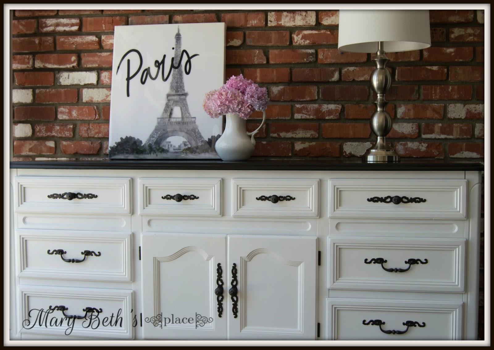 A classic black white dresser