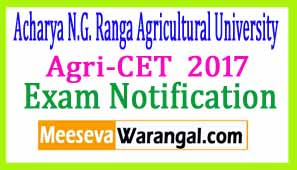 Agri-CET  2017 Notification  Apply Online