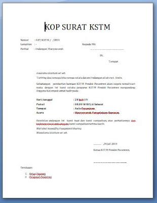 Contoh Surat Undangan KSTM Santri Milenial