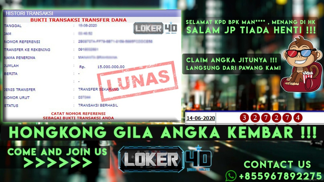 HONGKONG GILA ANGKA KEMBAR !!!  JEBOL 4D LANGSUNG DIBAYAR TUNTAS !!!