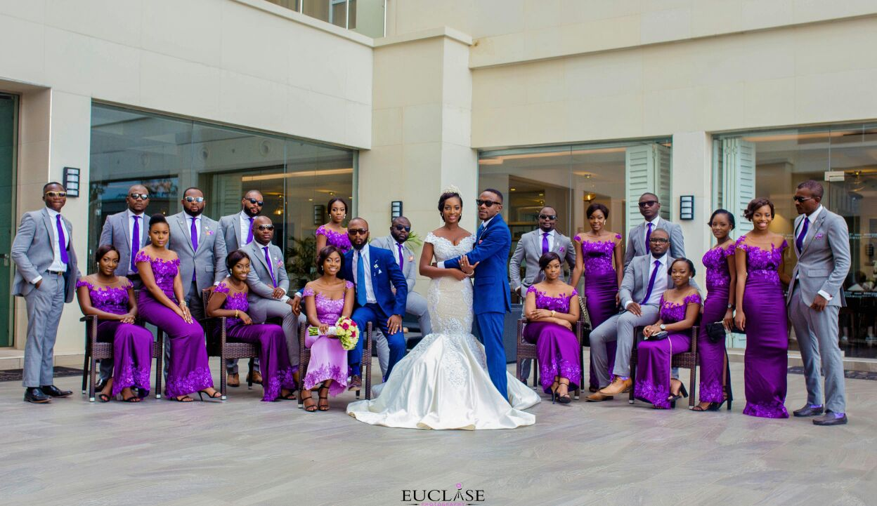 Dapper Grooms and Stunning Bridesmaids in Grey and Purpple