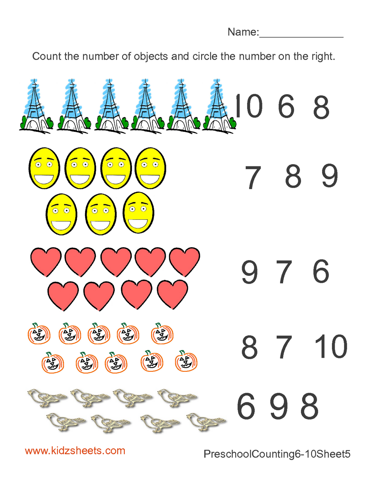 Math Worksheet For Kindergarten Counting 1 10