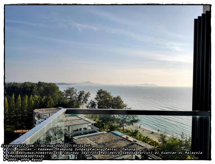 Gambar pemandangan laut dan pantai dari Timurbay Seafront Residence di Kuantan di Malaysia. Kami mendapat unit homestay menghadap laut.