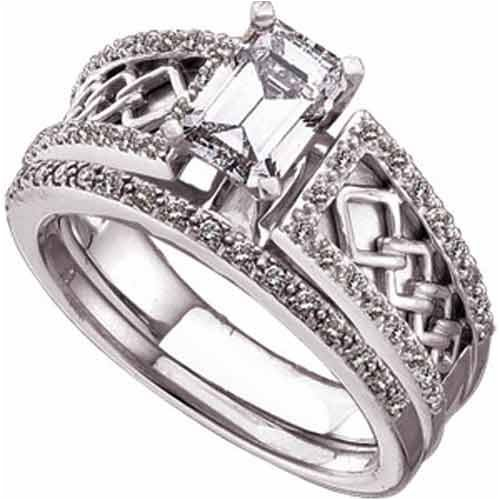 T W Ring Round Cut Diamonds In 14k White Gold Wedding Rings Set Semi Mount Setting Celtic Style Diamond