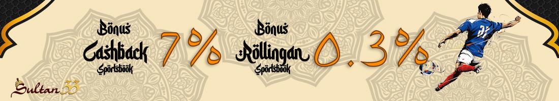 BONUS CASHBACK SPORTBOOK 7% & Rollingan Sport 0.3%
