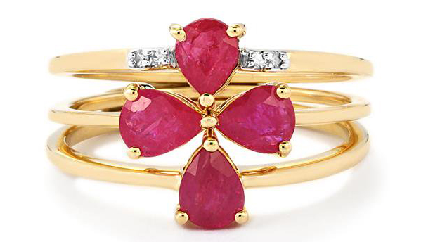 A set of 3 Thai ruby and diamond rings from Gemporia