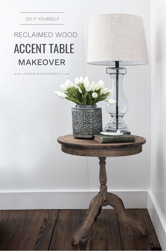 Reclaimed wood accent table makeover