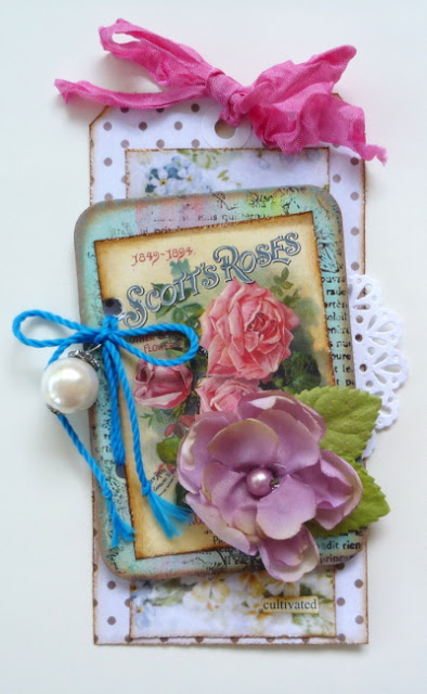 Pink Mixed Media Floral Tag by Dana Tatar for Inkido