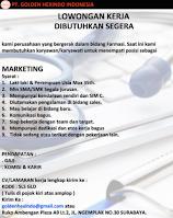 Lowongan Kerja di PT. Golden Hexindo Indonesia Surabaya Februari 2021