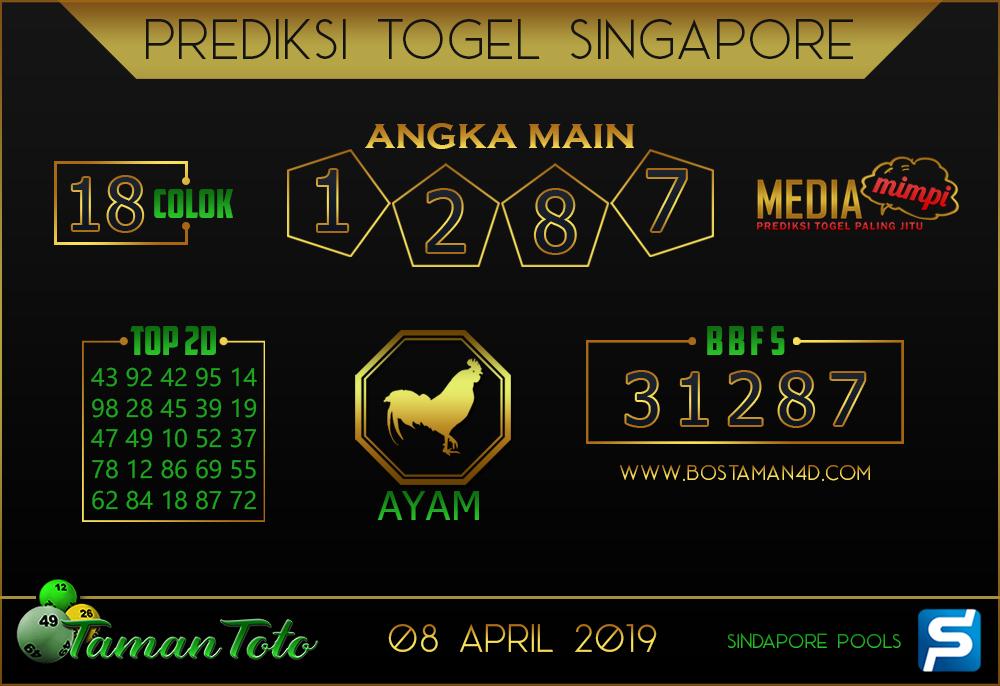 Prediksi Togel SINGAPORE TAMAN TOTO 08 APRIL 2019