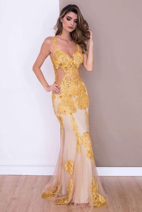 vestido de festa amarelo formatura