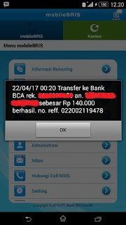 Pesan Berhasil Transfer Uang Lewat m Banking BRIS ke BCA