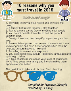 10 reasons why you must travel in 2016 (Infographic)
