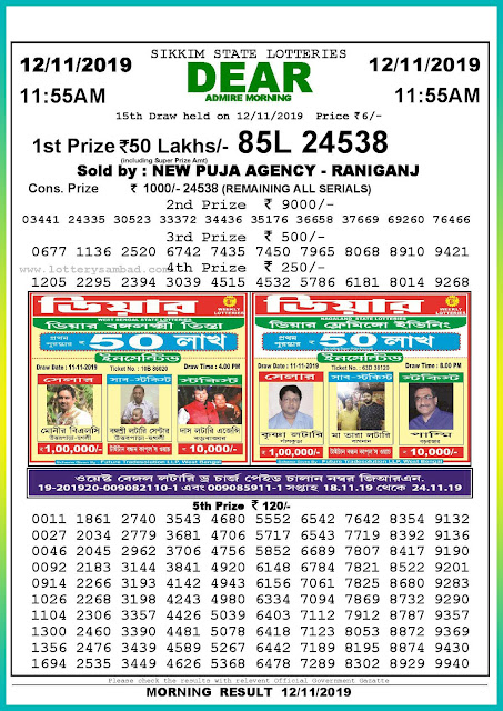 Sambad lottery 12-11-2019 Sikkim State Lottery Result 11.55 AM-lotterysambadresults.com