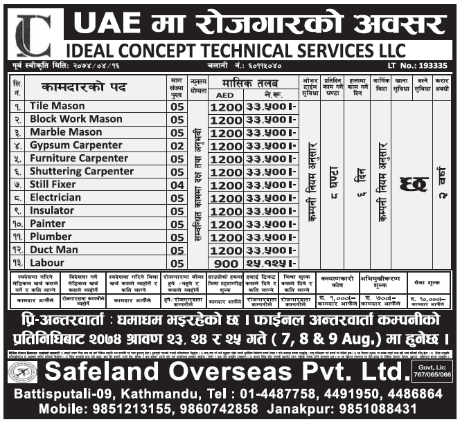 Jobs in UAE for Nepali, Salary Rs 33,500