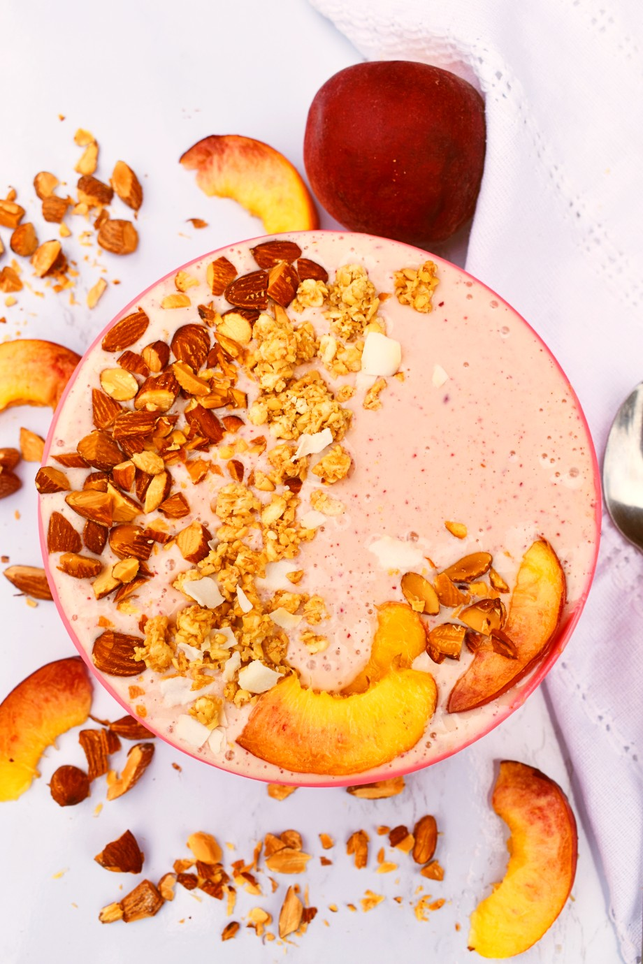 Healthy Peaches and Cream Smoothie Bowls