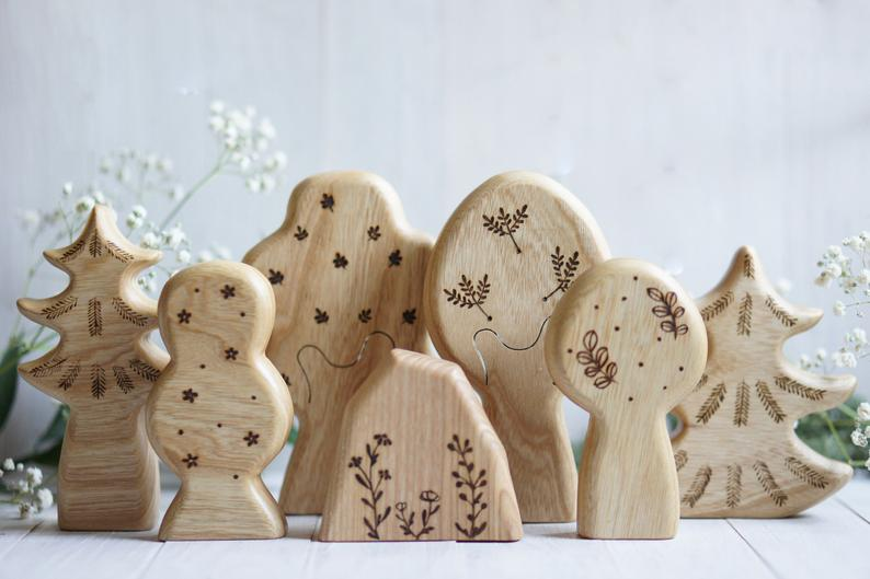 tiny fox hole wooden tree toys
