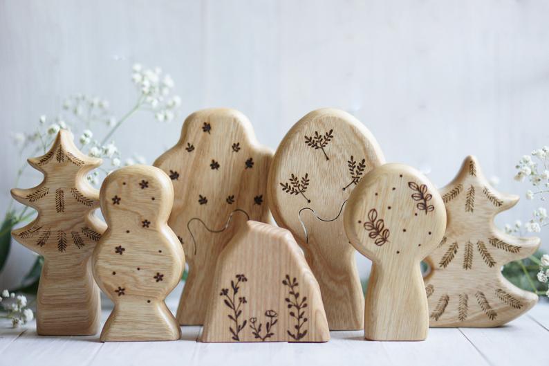 tiny fox hole wooden tree toys