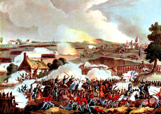 Ejército británico que resiste una carga por la caballería francesa, batalla de Waterloo, 1815