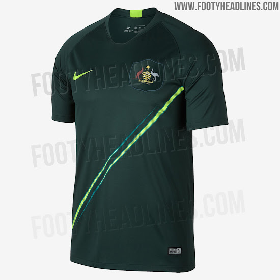 ff43f8cd8ea Australia 2018 World Cup Home and Away Kits + Pre-Match Jersey ...