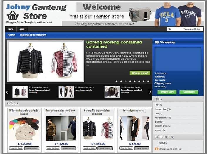 Johny ganteng store eCommerce Blogger Template