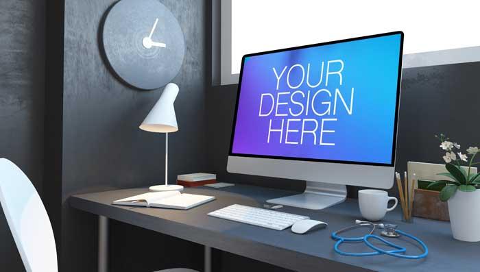 3D Rendering Doctors Clinic Desktop Mockup