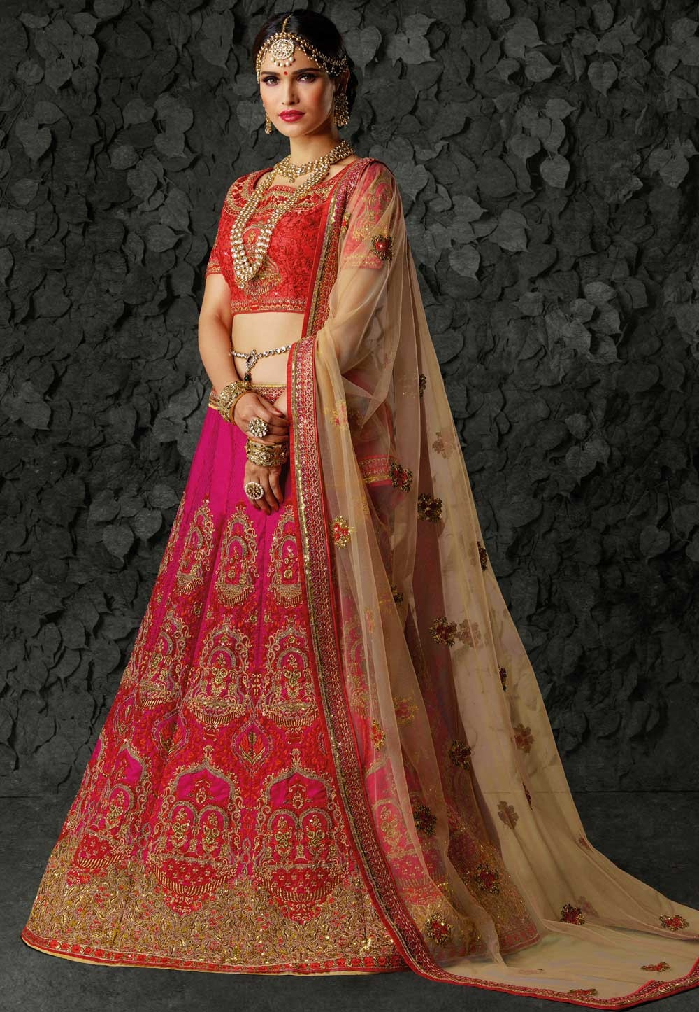 Red Bridal Lehenga for an Indian Bride