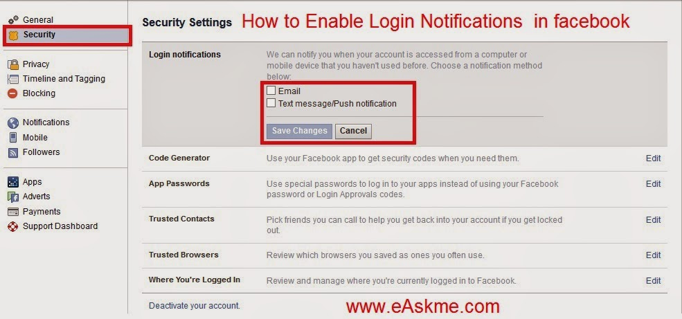 How to Enable Login Notifications in Facebook : eAskme