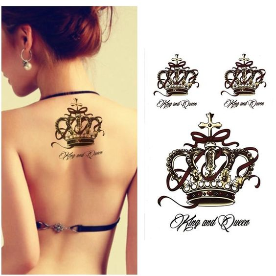 Crown Tattoo Designs For Girls on Upper Back