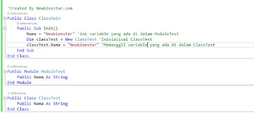Contoh perbedaan module dan class pada vb.net