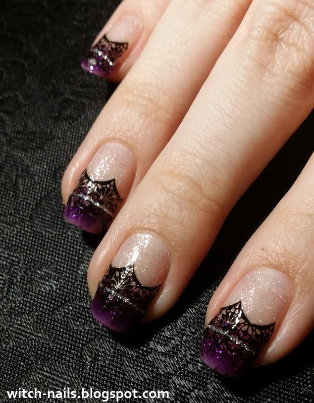 dark purple shimmery french manicure with black lace stickers