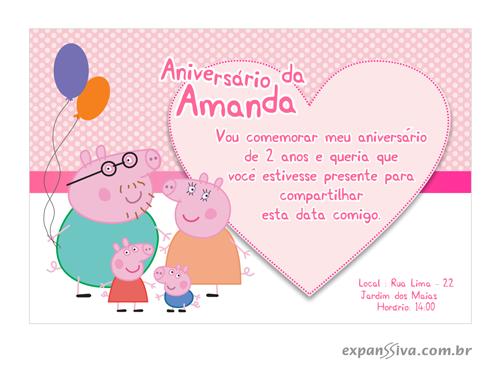 Convite de Aniversário Infantil Peppa Pig