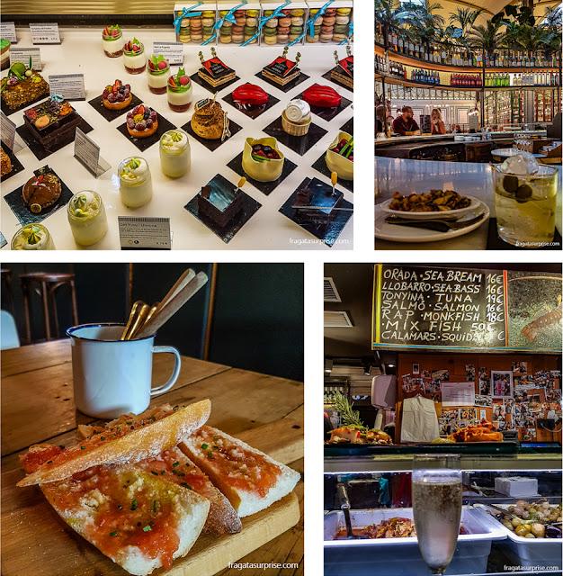 Barcelona: doces de Escribà, tapas com vermute em El Nacional, pão com tomate e mariscos com cava no Mercado da Boqueria