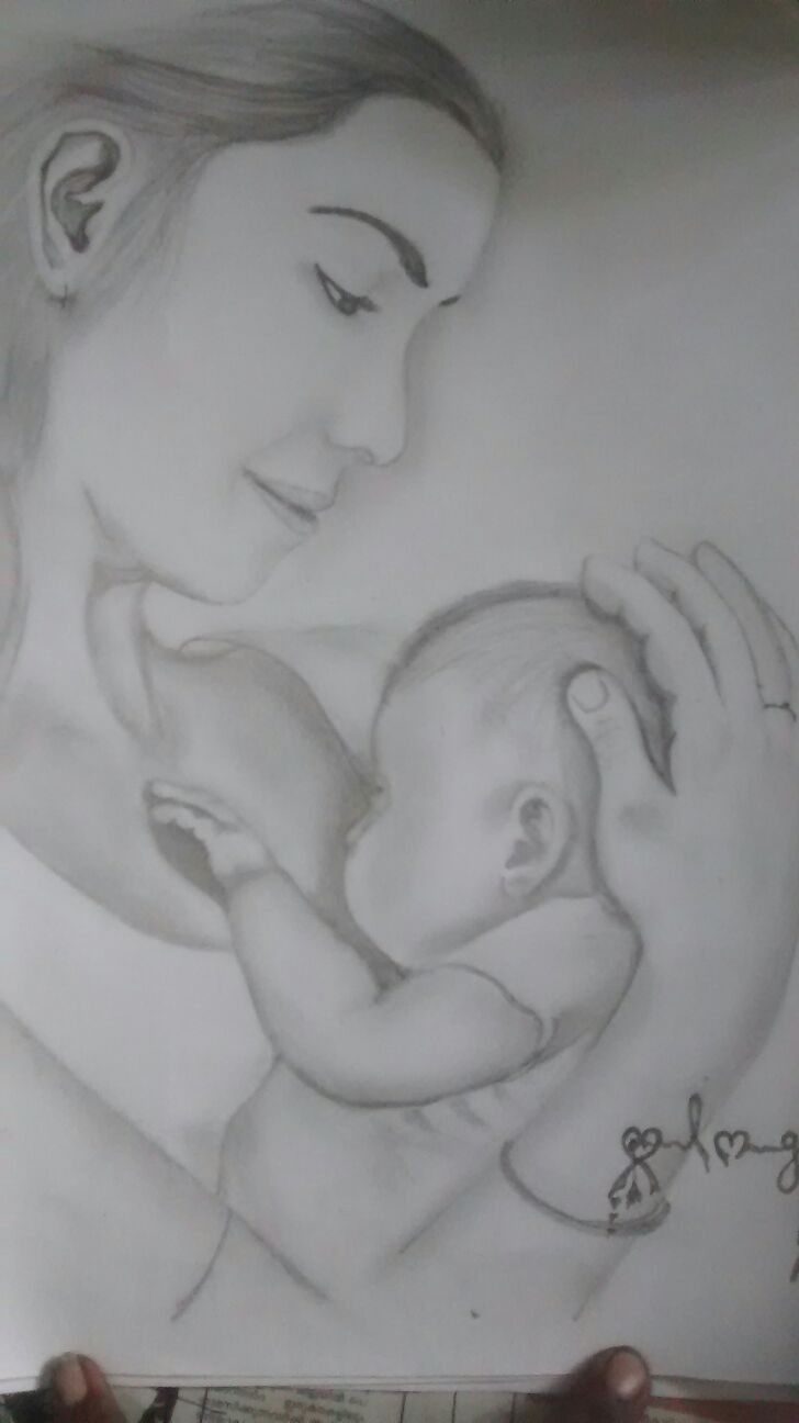 Pencil drawing mothers love