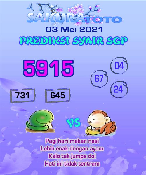 Syair SGP Senin 03 Mei 2021 -
