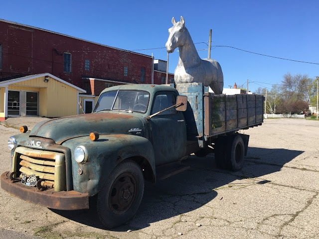 1950s GMC 350 Dump Truck With a Silver Horse in Unionville 1950s GMC 350 with a Silver Horse