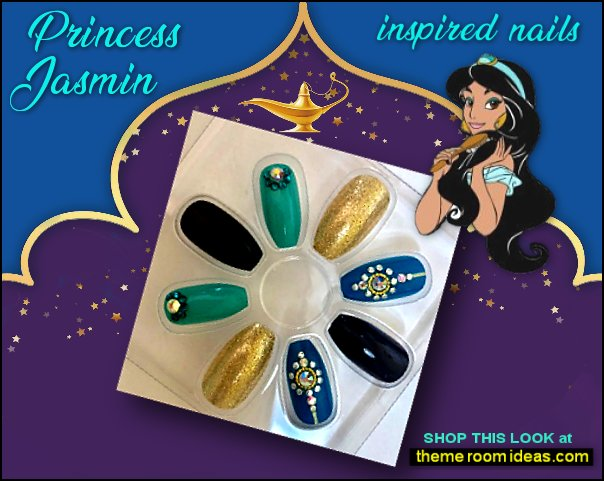 jasmine Aladdin Inspired Blue gold Squareletto False Fake Nails Aladdin Jasmine Disney Princess Wall Graphic Decal jasmine nails