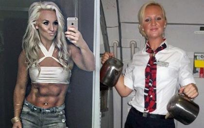 Bất ngờ với cơ bắp cuồn cuộn của nữ tiếp viên hàng không xinh đẹp