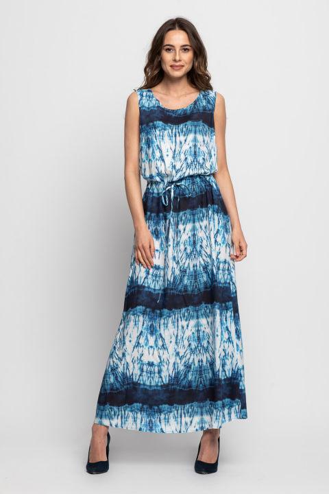 Długa sukienka na ramiączkach z troczkiem w talii