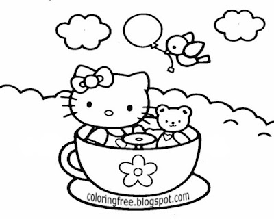 US kids easy cartoon drawing of Hello Kitty sweet chocolate drink printable coloring ideas for girls